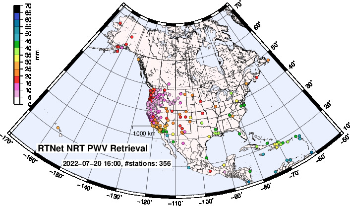 RTNet Precipitable Water in US